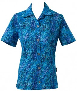Womens Paua Blue Fitted Shirt