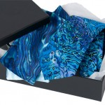 Boxed tie and ladies paua scarf